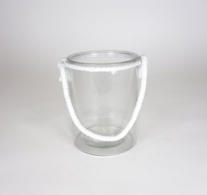 Glass Cylinder w/White Rope Handle